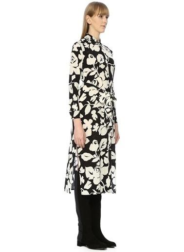 Beymen Club İngiliz Yaka Gül Desenli İpek Midi Elbise Siyah